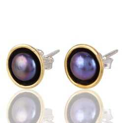 Sterling Silver and Brass Mix Two Tone Color Pearl Stud Earring