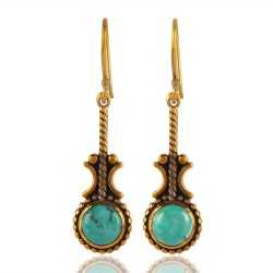 Gold Plated Dangle Fashion Earring with Natural Turquoise