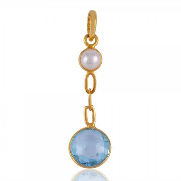 Pearl and Blue Topaz Gold Plated Silver Dangle Pendant Locket