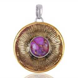 Silver and Brass Two Tone Two Metal Pendant with Purple Copper Turquoise Gemstone