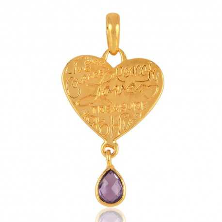Gold Plated Fashion Pendant Locket with Amethyst Natural Gemstone