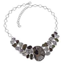 Solid 925 Silver and Russian Pyrite Ammonite Smoky Prasiolite Moldavite Gemstone Big Necklace