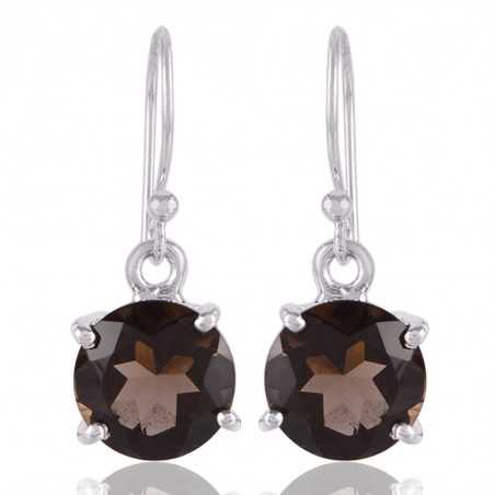 Smokey Quartz Natural Gemstone Sterling Silver Drop and Dangle Earring