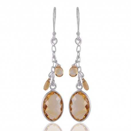 Citrine Gemstone With 925 Sterling Silver Earring Jewelry