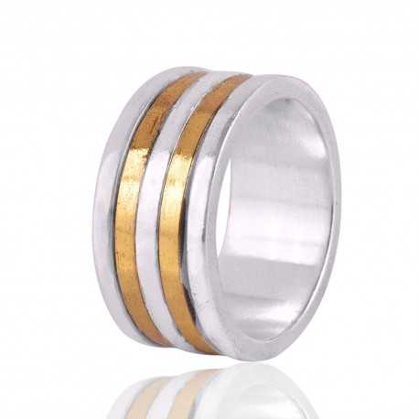 Sterling Silver And Brass metal two Tone Ring Band Spinner Ring Jewelry