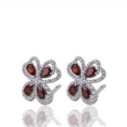 Garnet & White Cubic Zirconia Gemstone Silver Plated Brass Earring