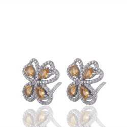 Citrine & White Cubic Zirconia Gemstone Silver Plated Earring