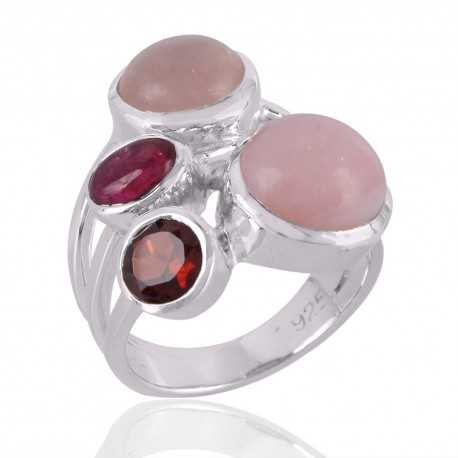 Garnet,Pink Opal,Rose Quartz & Tourmaline Gemstone 925 Sterling Silver Ring
