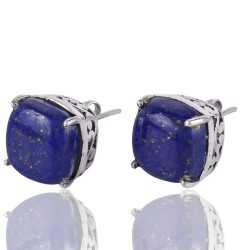 Lapis Lazuli Designer Stud with 925 Sterling Silver Earring