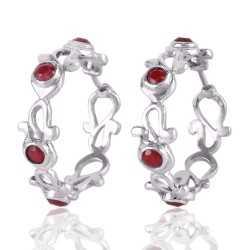 Red Corundum Sterling Silver Bali Earring