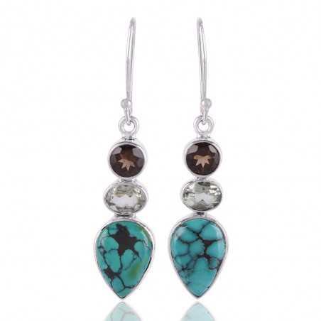 Tibetan Turquoise Smoky Quartz and Green Prasiolite 925 Silver Dangle Earring