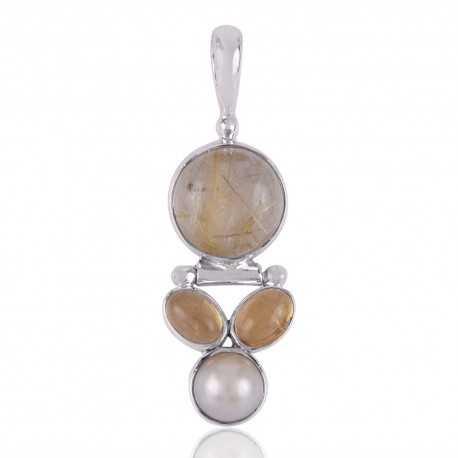 Citrine,Pearl and Rutilated Quartz Sterling Silver 925 Pendants