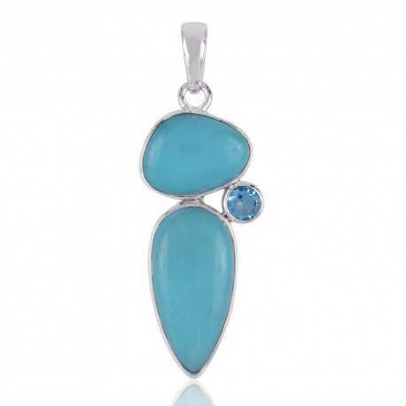 Arizona Turquoise, Swiss Blue Topaz Gemstone 925 Silver Pendant