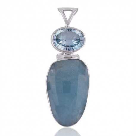 Sky Blue Topaz,Aquamarine Gemstone 925 Silver Pendants