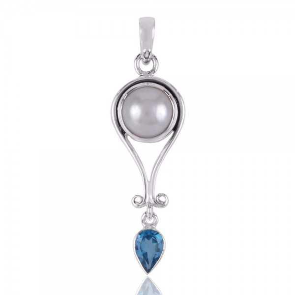 Swiss Blue Topaz,Pearl Gemstone 925 Silver Pendants