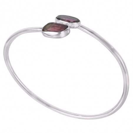 Tourmaline Slice Gemstone 925 Silver Bracelet