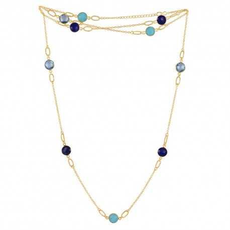 Sky Blue Topaz Multi Gemstone 925 Sterling Silver Necklaces
