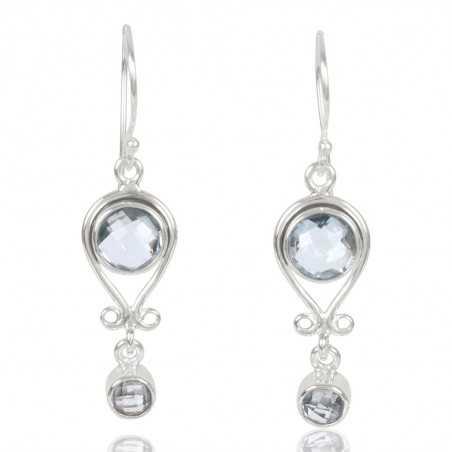 Natural Sky Blue Topaz Gemstone 925 Sterling Sliver Dangle Earring