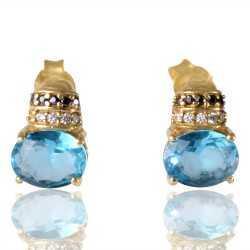 Sky Blue Swarovski Glass Black Spinal Glass White Cubic Zirconia Gold Plated Fashion Designer Stud Earring