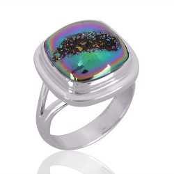Natural Titanium Druzy Gemstone 925 Sterling Silver Ring