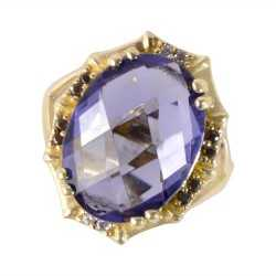 Purple Swarovski Glass, Black Spinal Glass and White Cubic Zirconia Yellow Gold Plated Fashion Ring