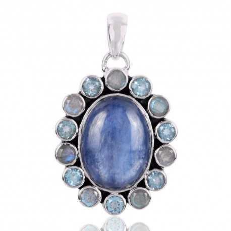 Kyanite Labradorite And Swiss Blue Topaz Gemstone 925 Sterling Silver Pendant