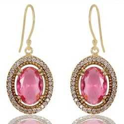 Pink Gemstone and White Cubic Zirconia Gold Plated Fashionable Earring