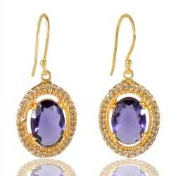 Purple Gemstone And White Cubic Zirconia Gold Plated Fashion Earring
