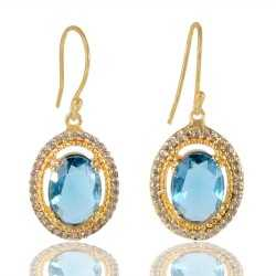 London Topaz Gemstone And White Cubic Zirconia Gold Plated Fashion Earring