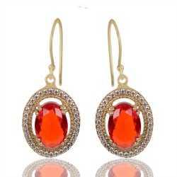 Orange Gemstone And White Cubic Zirconia Gold Plated Fashion Earring
