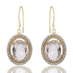 White Clear Gemstone And White Cubic Zirconia Gold Plated Fashion Earring