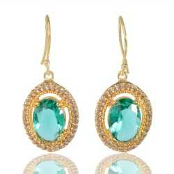 Light Green Gemstone And White Cubic Zirconia Gold Plated Fashion Earring