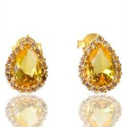 Yellow Gemstone And White Cubic Zirconia Gold Plated Fashion Earring