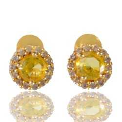 Yellow Gemstone And White Cubic Zirconia Gold Plated Stud Earring