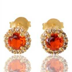 Orange Gemstone And White Cubic Zirconia Gold Plated Stud Earring