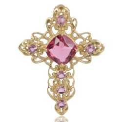Gold Plated Fashion Designer Cross Pendant With Pink Gemstone