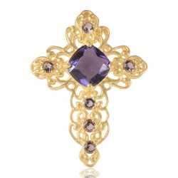 Purple Gemstone Fashionable Cross Pendant
