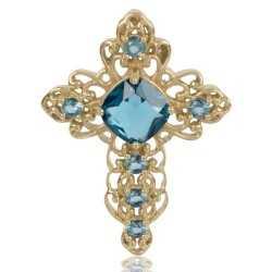 London Topaz Gemstone Gold Plated Fashion Designer Cross Pendant
