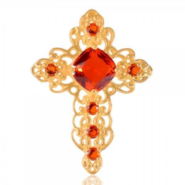 Orange Color Stone Gold Plated Fashion Designer Cross Pendant